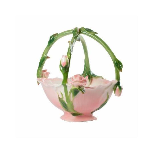 Cesta de porcelana flores alto relevo