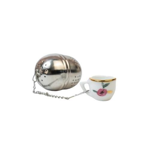 Infusor com pingente de porcelana mini xícara flor