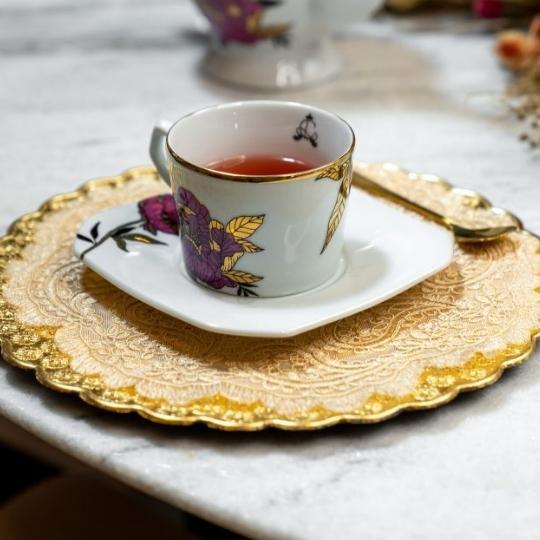 xícara porcelana peônia