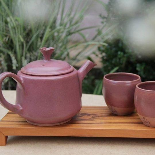 Conjunto bule e copo cerâmica para chá Hanghzou