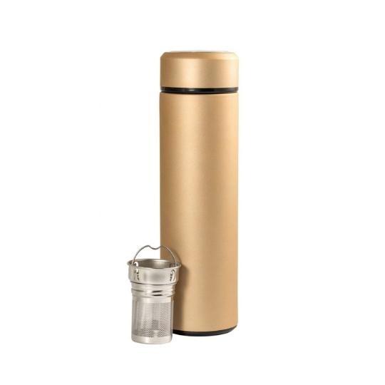 Garrafa térmica com infusor de inox dourada