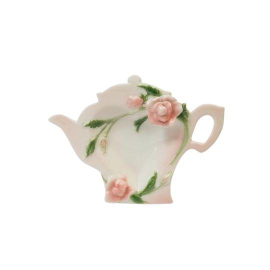 Descanso para infusor rosa floral em porcelana