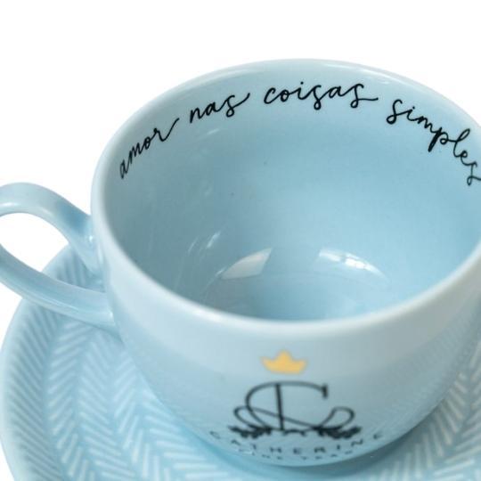 Xícara candy colors Catherine Fine Teas azul detalhes
