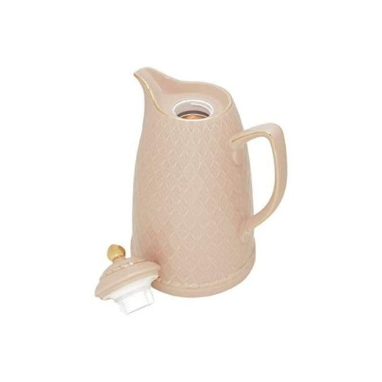 garrafa térmica de porcelana para presente rosa e dourada