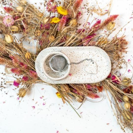 kit para chá em cerâmica branco rustic